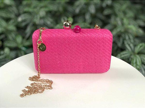 Bolsa Clutch Ráffia Quadrada Rosa Pink
