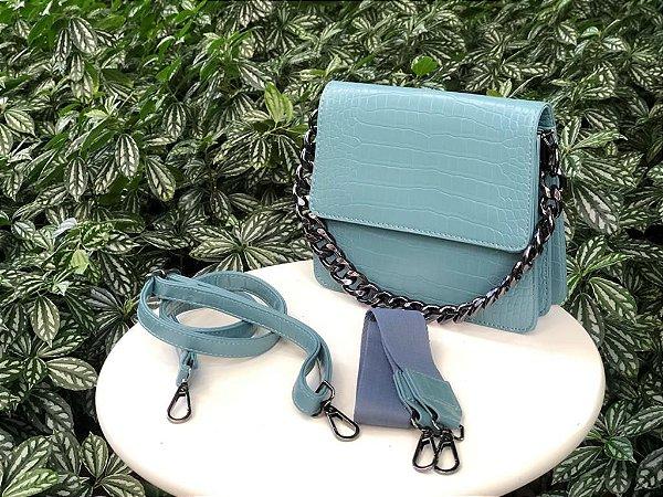 Bolsa Couro Textura Croco Azul