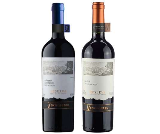 Kit De Vinhos Chilenos Ventisquero Reserva Cabernet Sauvignon e Merlot
