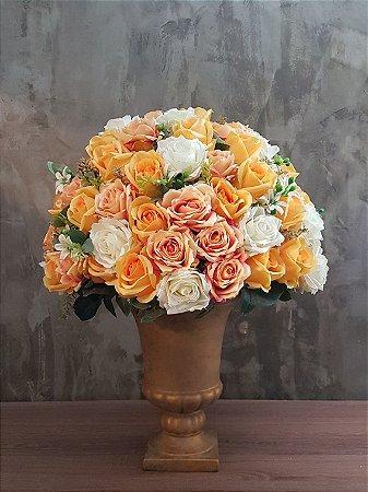 Rosas laranjas no vaso anfora 60cm