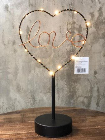 LUMINARIA 40749 METAL LOVE HEART LED PRETO 16,5X9,5X29,5CM