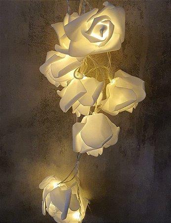 CORDAO LED DECOR ROSA BRANCA DE EVA 15x15x8  230CM / 10 LEDS  0190