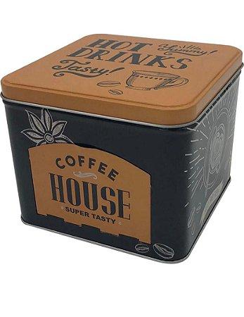 LATA PORTA CAPSULAS METAL COFFEE HOUSE DOURADO  15X12,5CM