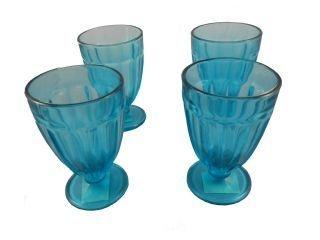 Taça de Vidro Azul 270ml com 4 peças
