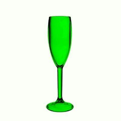 Taça Champagne Acrílico Verde 160ml - 6 Peça - KOS