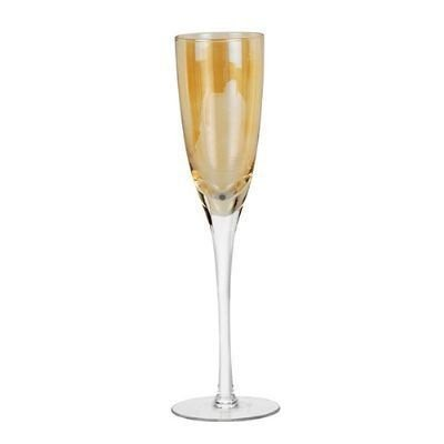 Taça Champagne 255ml Vidro Ambar Lustrada 6 Peças - Enjoy