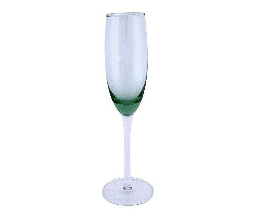 Taça Champagne 260ml Vidro Verde Stain 6 Peças