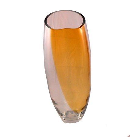 Vaso 37CM de Vidro transparente com Detalhe em Ambar- GS Lara