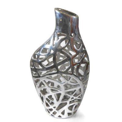 Vaso Cerâmica Prateado 38cm