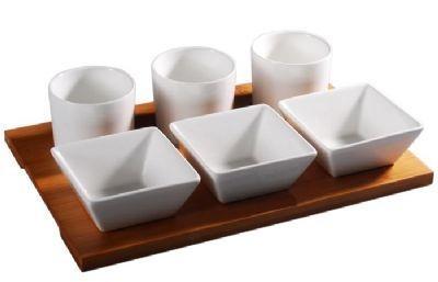 Petisqueira Porcelana com Bamboo 7 Peças - Enjoy Bossa