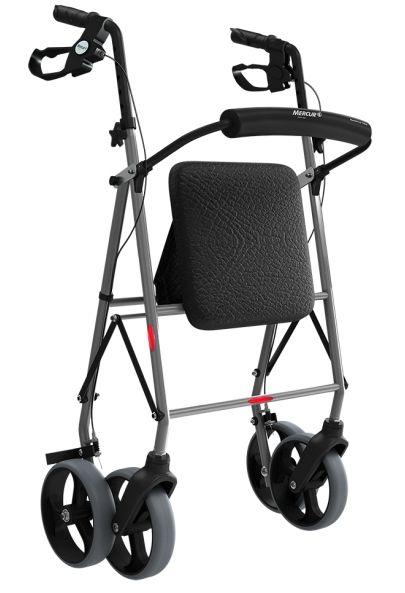 Andador de Alumínio com 4 Rodas, Assento e Cesta - Mercur