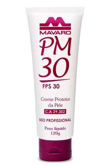 Creme Protetor da Pele PM 30 com FPS 30 - 120g -  Uso Profissional - Mavaro