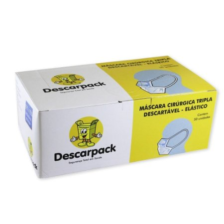 Máscara Cirúrgica Tripla Descartável - Elástico - Caixa 50 unidades - Descarpack