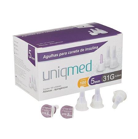 Agulhas para Caneta de Insulina - Caixa com 100 Unidades - 31g - 5mm - UNIQMED