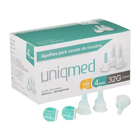 Agulhas para Caneta de Insulina - Caixa com 100 Unidades - 32g - 4mm - UNIQMED