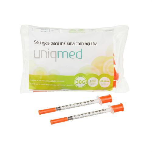 Seringas para Insulina com Agulha 30g 1ml (8x0,30mm) 10 unidades - UNIQMED