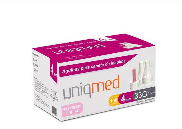 Agulhas para Caneta de Insulina ULTRA FINA 4mm  - Caixa com 100 Unidades - UNIQMED