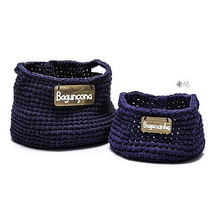 Cesto de crochet azul marinho