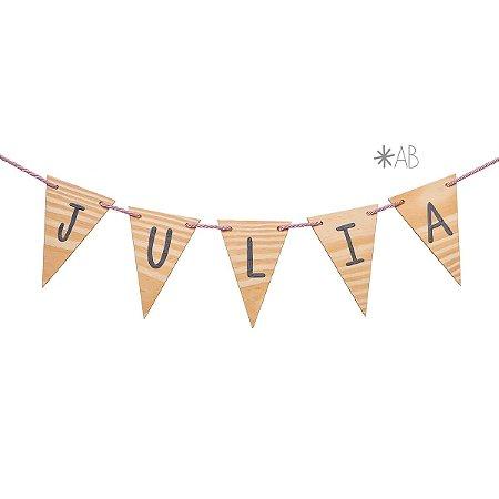 Bandeirola de madeira pinus natural para decorar quartos e festas infantis
