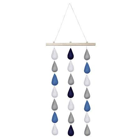 Móbile de parede com gotinhas de feltro combinação azul, branco e cinza