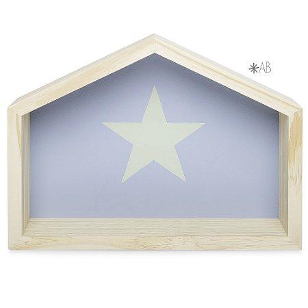 Nicho de Casinha tamanho G com Estrela pintada para decoração de quarto infantil