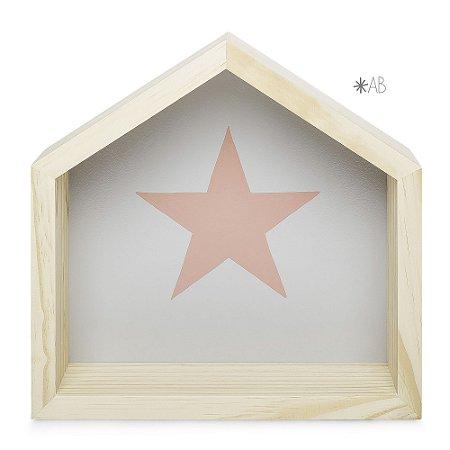 Nicho de Casinha tamanho M com Estrela pintada para decoração de quarto infantil