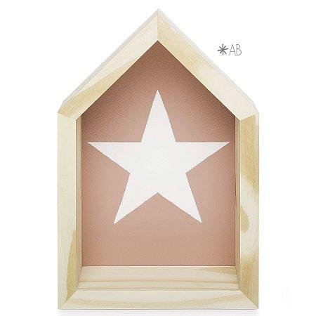 Nicho Casinha tamanho P com Estrela pintada para decoração de quarto infantil