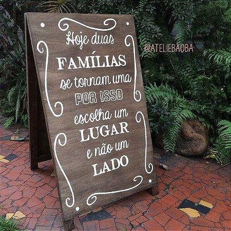 Placa cavalete para casamentos e festas