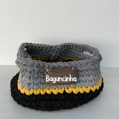 Cesto de Crochê P - preto, amarelo e cinza