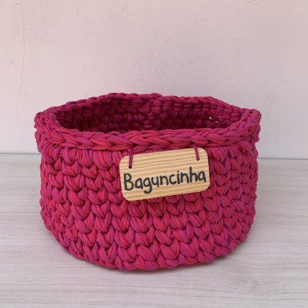 Cesto de Crochê P - rosa pink