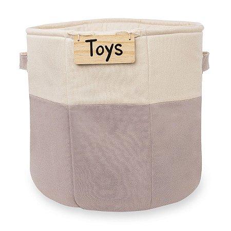 Cesto de brinquedos cinza