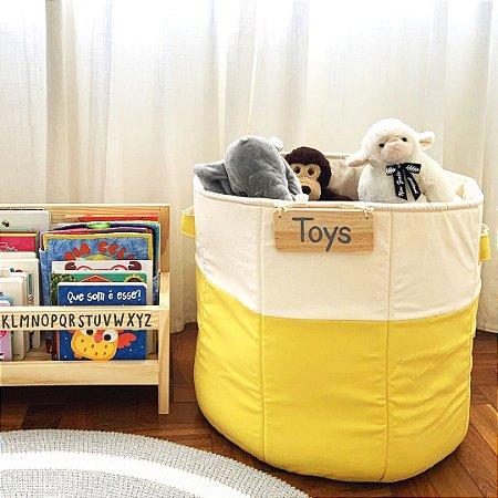 Cesto de brinquedos amarelo