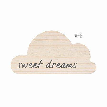 Plaquinha Nuvem em madeira para personalização