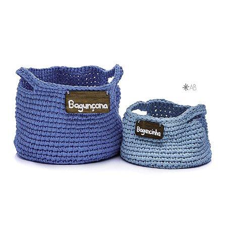 Cesto de crochet azul claro