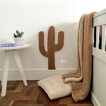 Plaquinha Cactus em cumaru