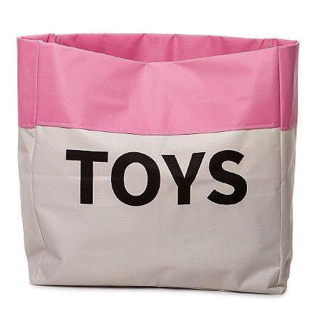 Sacão TOYS PEQUENO na cor rosa claro para armazenar brinquedos e decorar quartos infantis