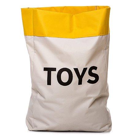 Sacão TOYS GRANDE na cor amarelo para armazenar brinquedos e decorar quartos infantis