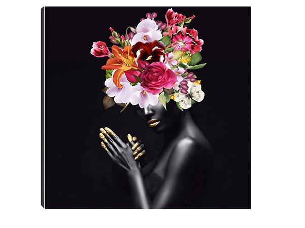Quadro 70x70 Mulheres Negras com Flores MN-05