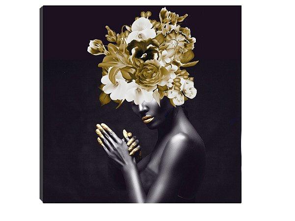 Quadro 70x70 Mulheres Negras com Flores MN-03