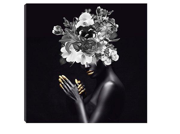 Quadro 70x70 Mulheres Negras com Flores MN-01