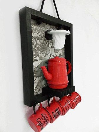 Enfeite para cozinha Coador Bule Xicara  Vermelho  30x40