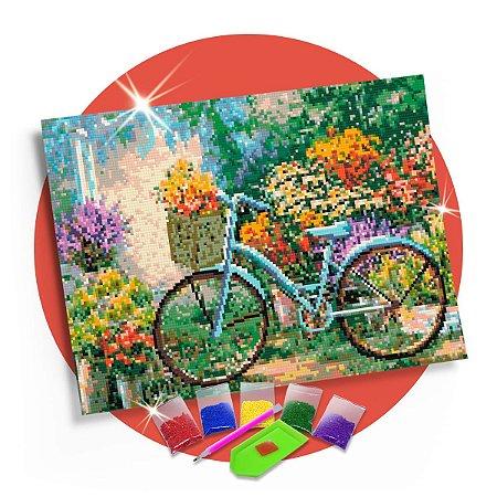 Pintura com Diamantes -  Bicicleta com Flores 30x42