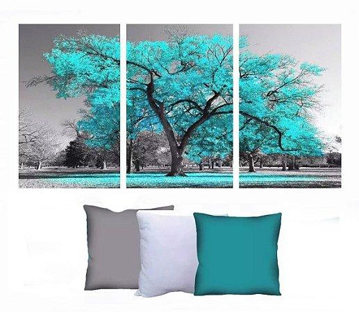 Quadro Digital Arvore Azul 90x180 + 3 capas de almofada