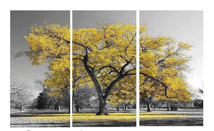 Quadro Digital Arvore Amarela - Trio - 60x120 (3 pçs 40x60)