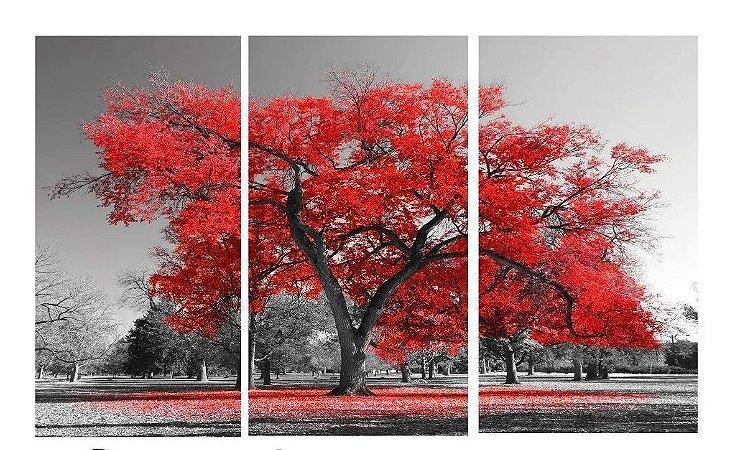 Quadro Digital Arvore Vermelha - Trio - 60x120 (3 pçs 40x60)