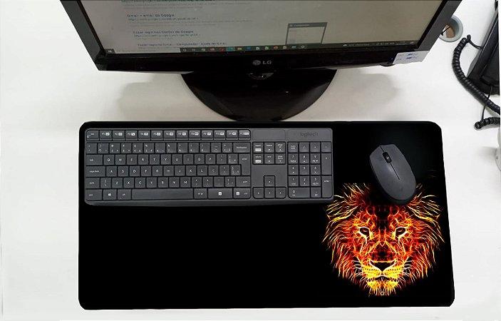 Mouse Pad / Desk Pad Grande 30x70 Linha Pets - Leão Laranja