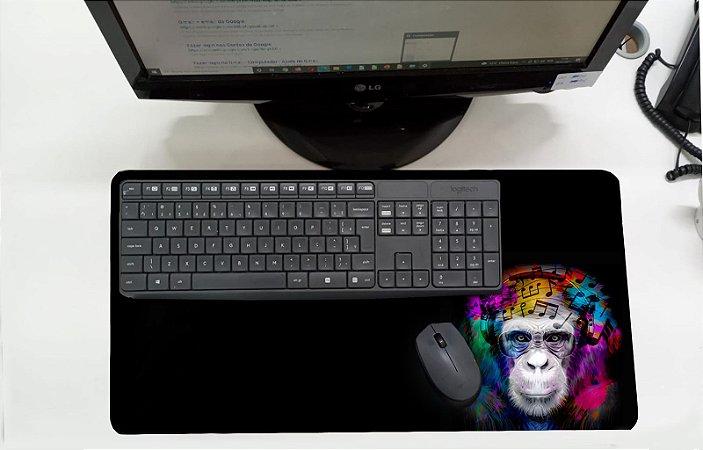 Mouse Pad / Desk Pad Grande 30x70 Linha Pets - Macaco Músico