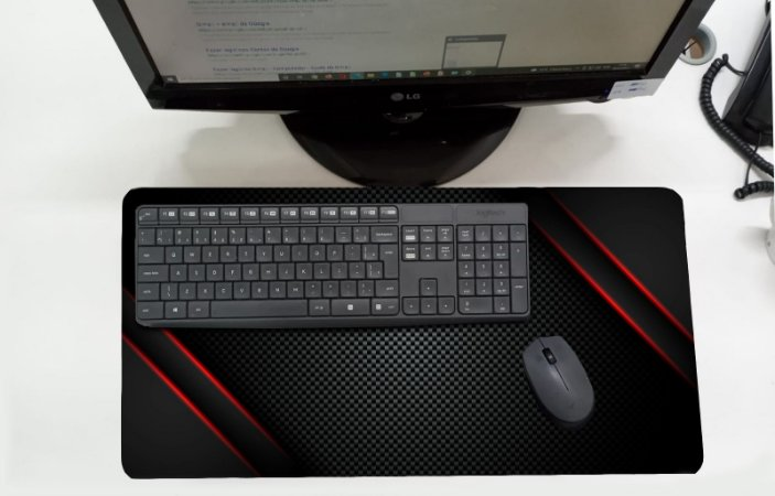 Mouse Pad / Desk Pad Grande 30x70 Linha Office - Listras Vermelhas