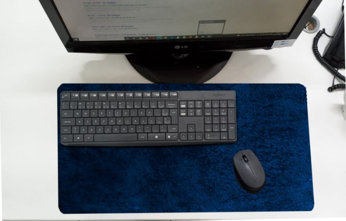 Mouse Pad / Desk Pad Grande 30x70 Linha Office - Azul  Manchado/Vintage