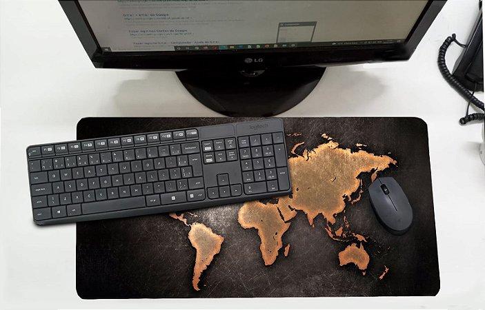 Mouse Pad / Desk Pad Grande 30x70 Linha Office - Mapa Mundi  Marrom